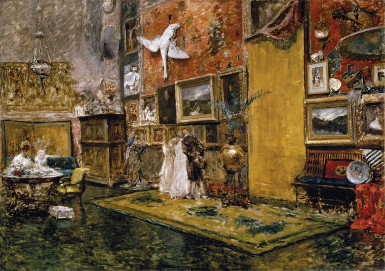 COUP DE COEUR   :   William Merritt Chase  (1849-1916)  :  The Tenth Street studio /  a friendly call