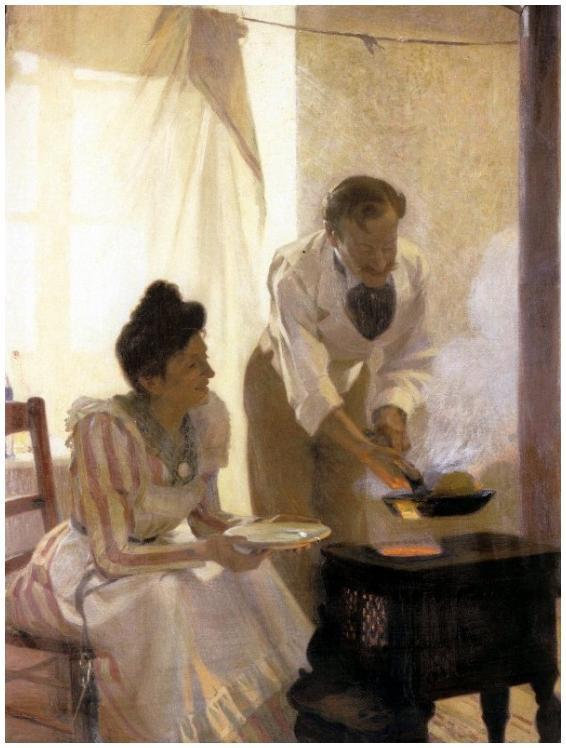 Alfred de Richemont (1857-1911) : partie de crêpes , j'ai déjà affiché ce tableau , mais je l'aime beaucoup de par la connivence pleine de tendresse entre les personnages...