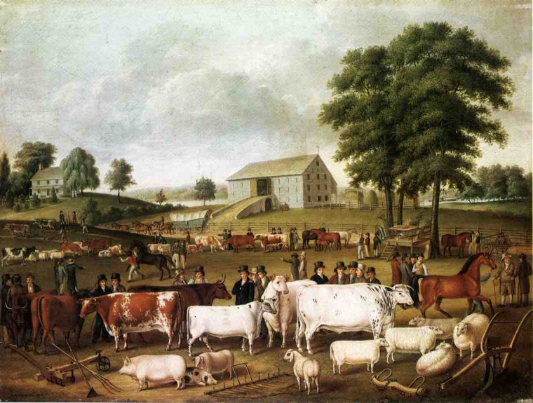 Fin du Salon de l'Agriculture . . . Sr  John Archibald Woodside (American painter, 1781-1852)  :   A Pennsylvania Country Fair 1824