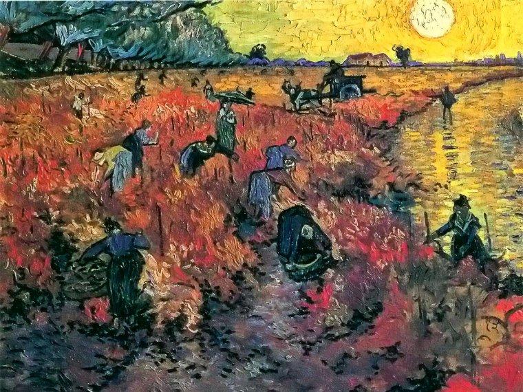 Vincent Van Gogh (1853-1890)  : la vigne rouge , seul tableau qu'il ait vendu de son vivant . . .