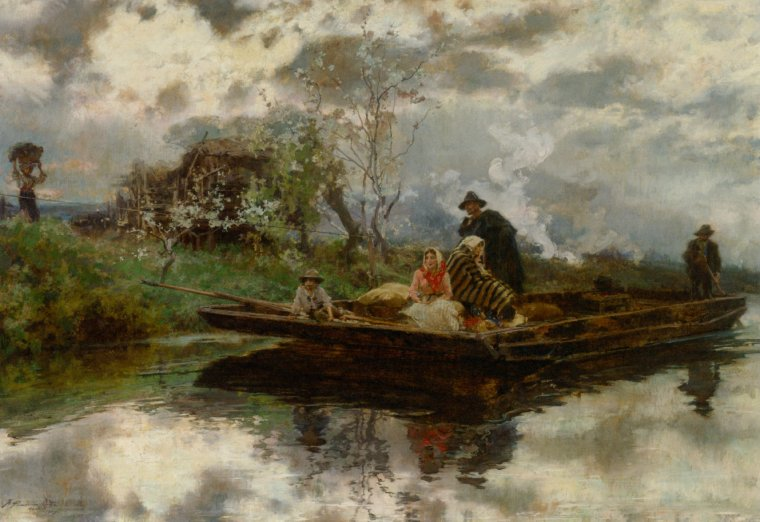 Francisco  PADILLA  Y  ORTIZ  (1848-1921)  :  brouillard au printemps en Italie