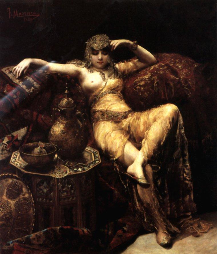 COUP DE COEUR   :    Francesco Masriera y Manovens  ,  peintre espagnol  (1842-1902)  :  beauté de harem
