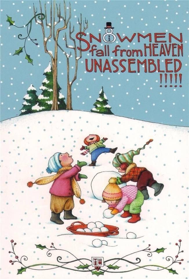 Pour mes amis enneigés ...  :  les bonhommes de neige tombent du ciel en pièces détachées   :-)