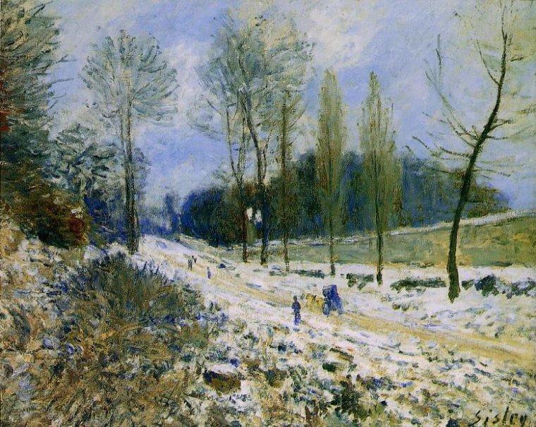 """Alfred SISLEY (1839-1899)   """"La Côte du Coeur-volant à Marly sous la neige"""""""