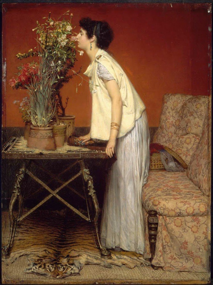 Coup de coeur   :   Sir Lawrence ALMA-TADEMA  (1836-1912)   Woman and Flowers 1868