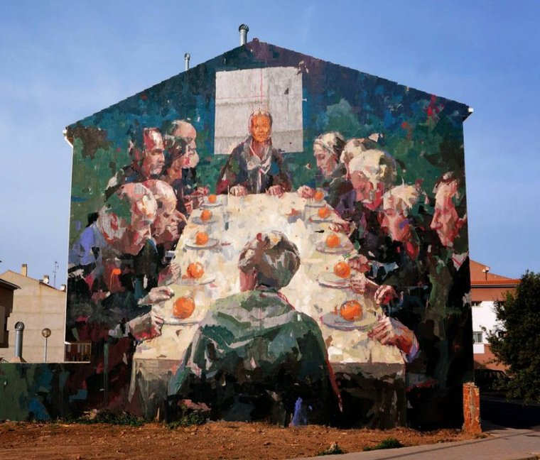 "Street art :   'Naranjada' by fantastic Borondo ""official page"" in Vila-Real, Spain"