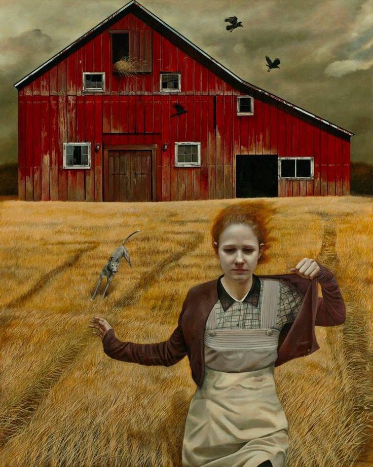 Andrea Kowch  ,  peintre américain contemp.  /  Feux d'artifice , pétards , etc...sont supprimés ici cette année à cause de la sécheresse  ( quand je dis qu'il n'a pas plu depuis plus d'un mois !  :-(  )