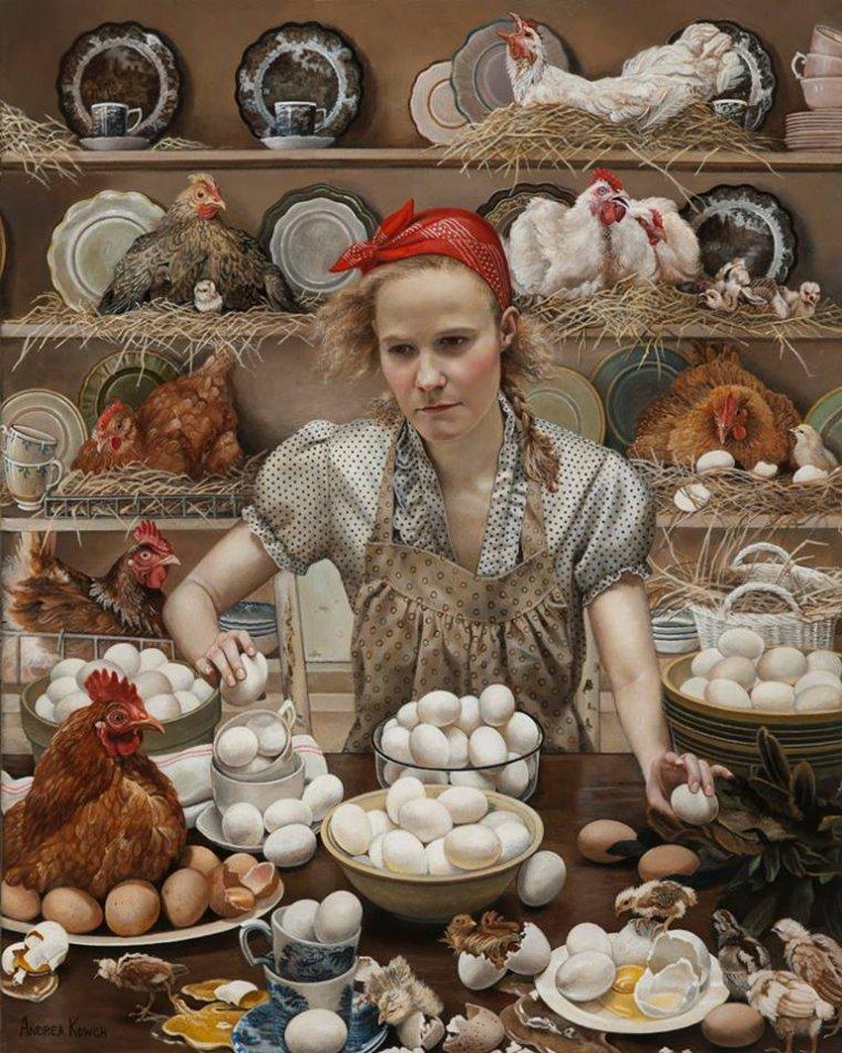 Andrea Kowch , peintre américain contemp.  et si on s' faisait une tit' omelette ce soir ?  ;-)