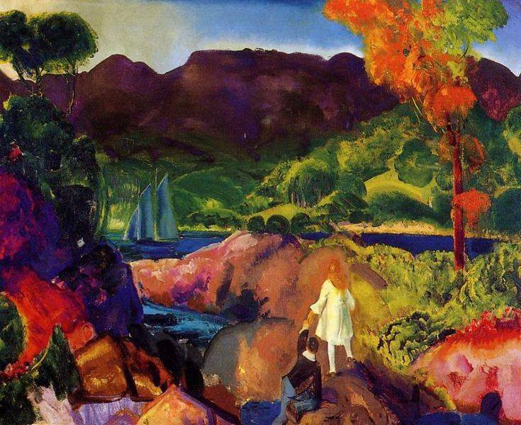 George  BELLOWS  ,  peintre américain  (1882-1925)   :  Romance of autumn