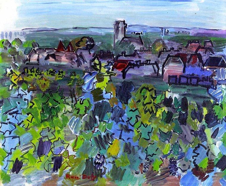 Raoul Dufy (1877-1953)    :  paysage de Bourgogne