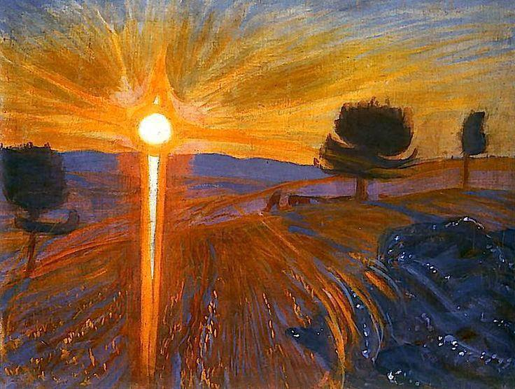 "Wojciech Weiss  (1875-1950)   , peintre polonais  "" Sunset."""