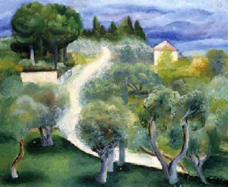 Moïse Kisling  , peintre d'origine polonaise  ( 1891-1953 )  Route de Bandol à Sanary