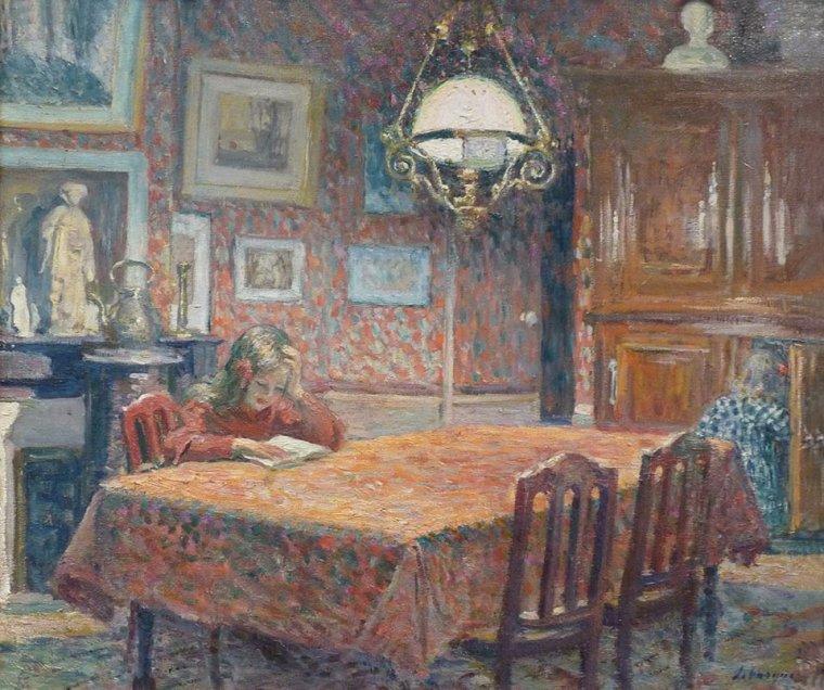 Henri LEBASQUE Sous la lampe ,1904 , post-impressionniste (1865-1937) Mais que fait donc l'autre petite dans le buffet ?...