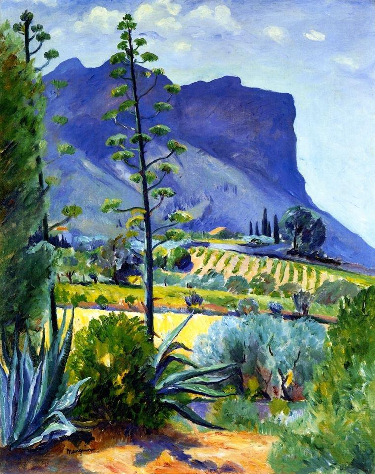 Henri MANGUIN  ( 1874-1949 )   :  aloes en fleurs , Cassis