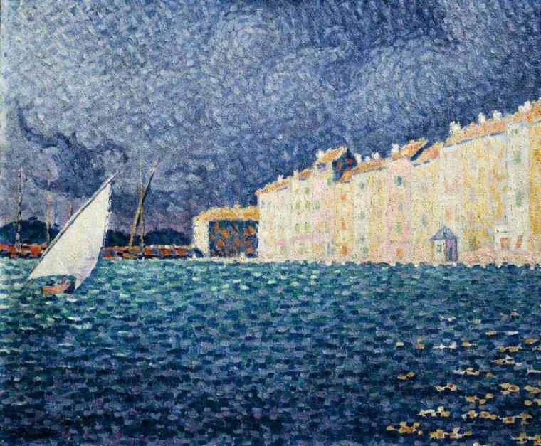 Paul  SIGNAC  : Saint-Tropez  ,  la tempête  (1895)