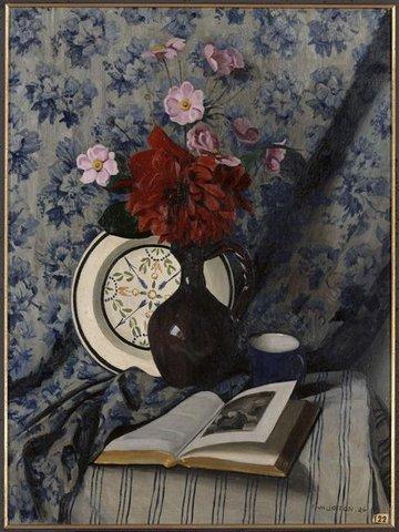 Félix VALLOTTON , Dahlia rouge et livre ouvert, musée d'art moderne Troyes