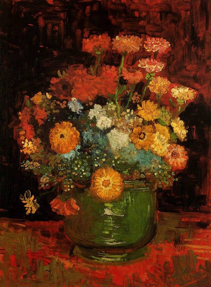Vase with Zinnias   Vincent van Gogh 1886