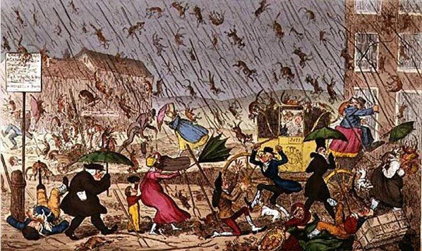 Raining Cats, Dogs and Pitchforks !  by artist George CRUIKSHANK  , il pleut des chats , des chiens et des fourches    :-(