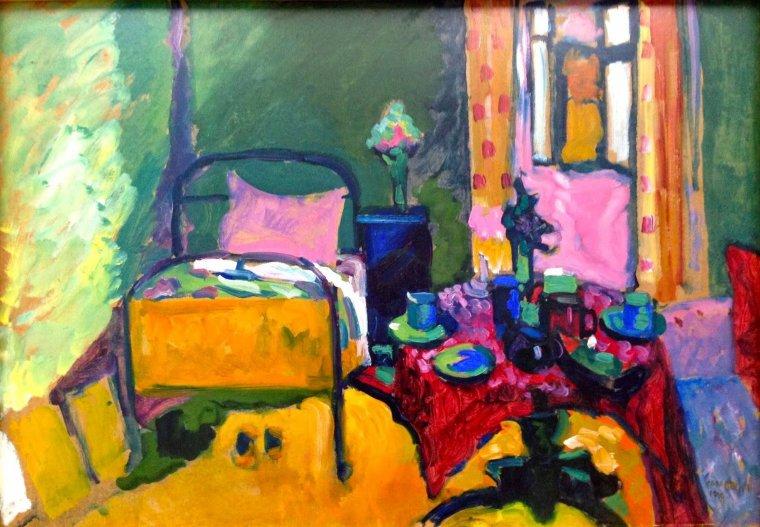 Un peintre très coloré que je connaissais peu...  WASSILY KANDINSKY. Bedroom in Ainmillerstrasse, 1909  <3