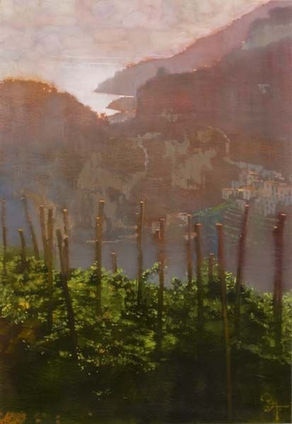 Bernie FUCHS , illustrateur américain (1932-2009)   Italian vines by sunset