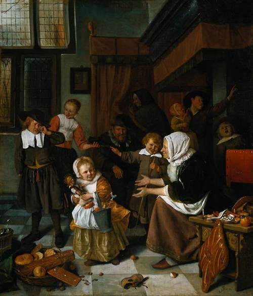 Jan STEEN , peintre hollandais (1625-1679) : la Fête de Saint Nicolas