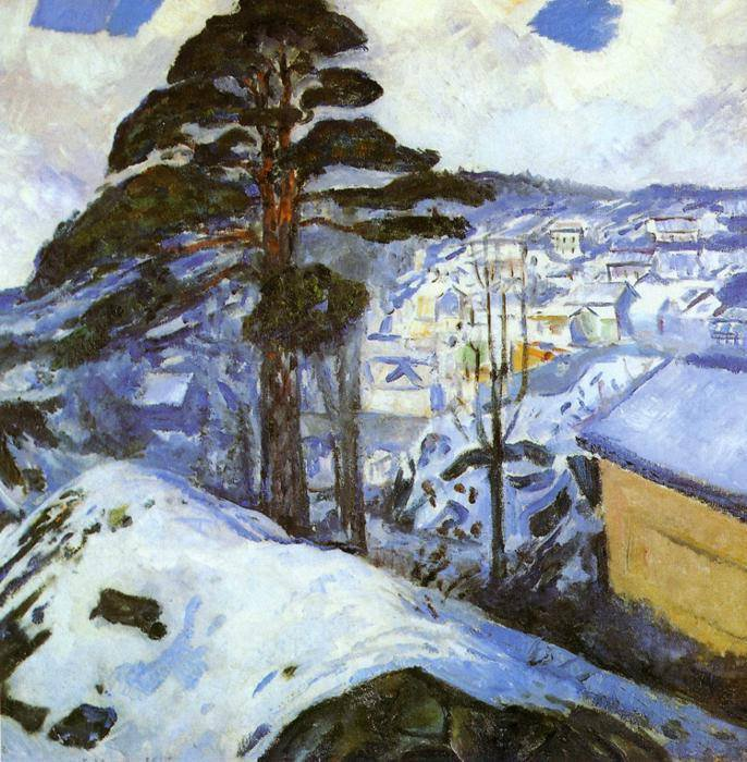 Edvard MUNCH , Kragerø, Hiver, 1912    /   Winter Night, 1900.