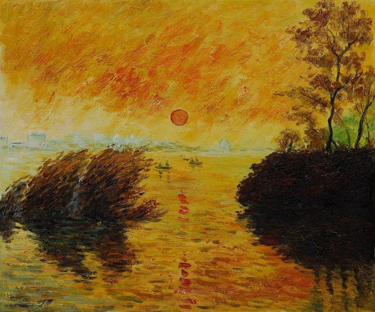 CLAUDE OSCAR MONET  le coucher du soleil ,   la SEINE