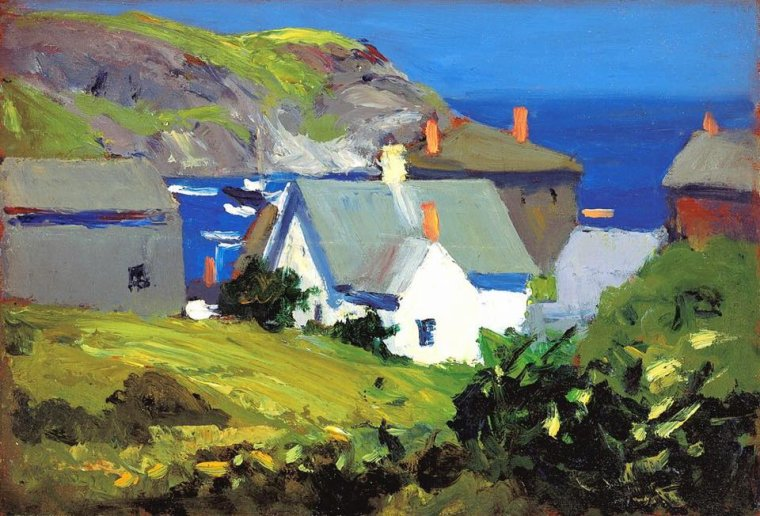 Edward  HOPPER   Maisons de monhegan, Maine-1916