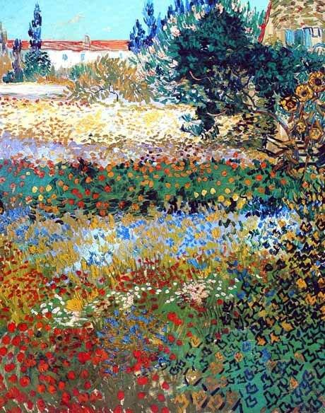 Vincent  VAN GOGH  Arles - Jardin en fleurs