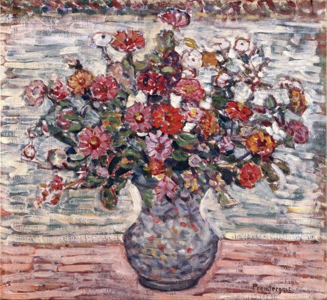 HAPPY  BIRTHDAY , Mam' Goudig  !   :   Maurice Prendergast (1861–1924)  zinnias