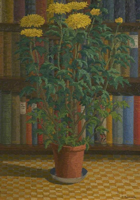Charles GINNER  (1878–1952), yellow chrysanthemums, 1929