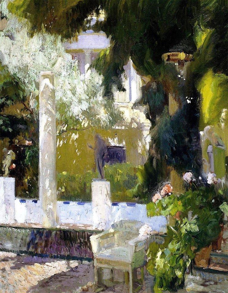 JOAQUIN SOROLLA Y BASTIDA.   jardin de la maison Sorolla  1920