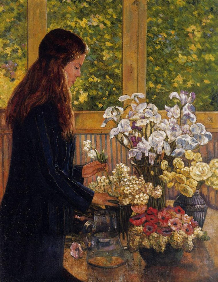 Young Girl with a Vase of Flowers ~ Theo van Rysselberghe
