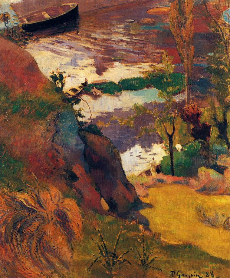 Paul Gauguin  Fisherman and Bathers on the Aven 1888
