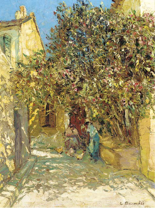 A sunlit courtyard, Louis Bonamici. French (1880 - 1966)