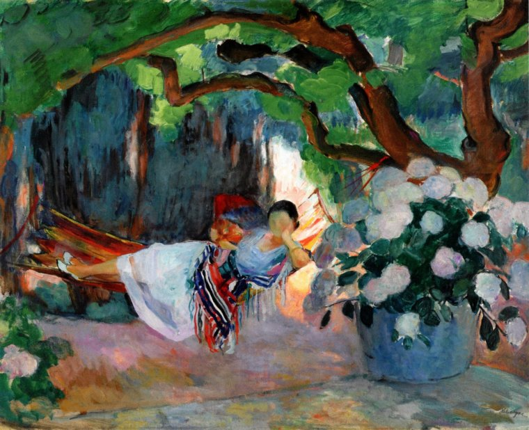 Henri Lebasque, Le Pradet, Young Woman in a Hammock, 1923