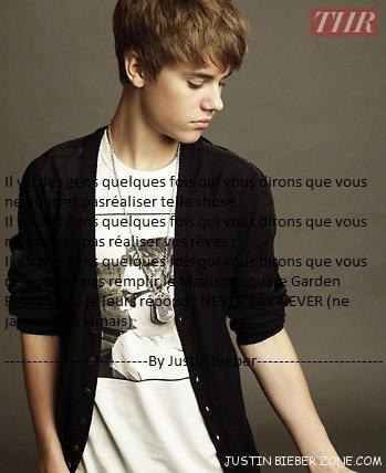 Lui, c'est toute notre vie, toujours la pour nous rendre heureuse, on a toutes la BieberFever... Lui seul compte pour nous... C'est notre essentiel, notre number one...! Justin Bieber le seul...!  <3