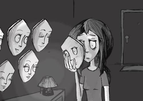 Souris pauvre conne, rigole montre que tu es heureuse même si tu ne l'es pas. Suis la mode et tais-toi, sois normal comme tout le monde. Bats-toi pour survivre, relève toi car personne ne t'aideras. Apprends à te débrouiller seule, car l'aide que l'on t'apportera sera rare. Garde la tête haute et ne montre pas tes faiblesse sinon tu seras perdue. Contrôle tes émotions, ton apparence, tu dois être parfaite, ne rien laisser paraitre. Prépares-toi à recevoir des coups, forge toi une carapace, la vie risque d'être rude. Nulle ne dois te connaitre, savoir qui tu es, tu dois projeter une image, te conformer aux règles de la société.