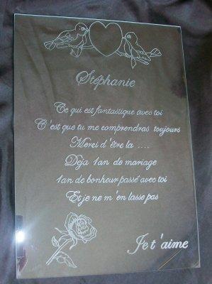 Cadre Amour 1 An De Mariage La Gravure Sur Verre