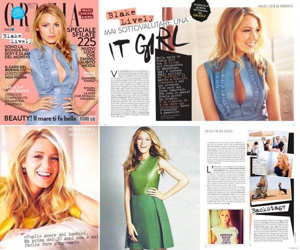 -  OO/O8/2O14 : B. fera la couverture de Grazia Magazine du mois d'Août. -