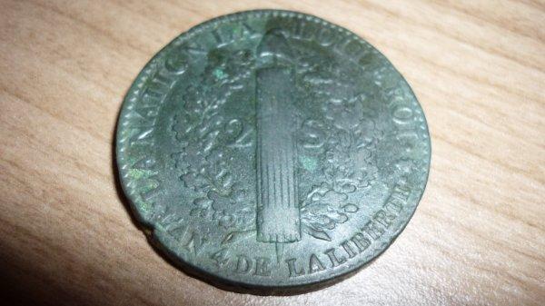 2 sol au faisseau Louis XVI , roi des François