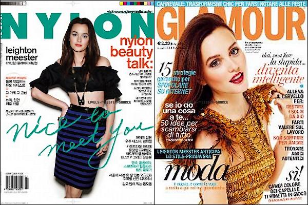 . Ce mois-ci  Leighton fait les Couvertures  des Magazines NYLON US ansi que les Magazines NYLON KOREA et GLAMOUR ITALY_____________________________________________ Comment la trouvez vous ? Vos Avis ? .