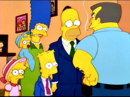 Maggie, Bart, Lisa, Homer et Marge