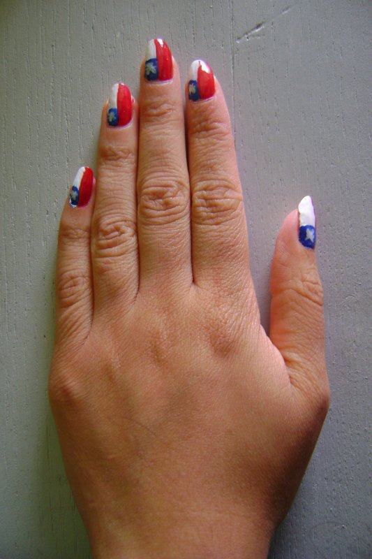 Nail Art - Drapeau du Chili