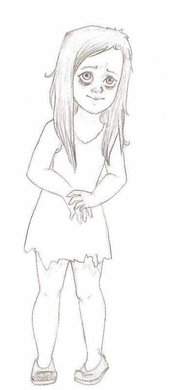 Petite Fille Dessin Noir Et Blanc