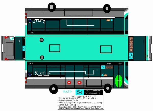 Maquette de bus RATP Ligne 54 en MAN NL255 coquille 9601 en habillage du 238