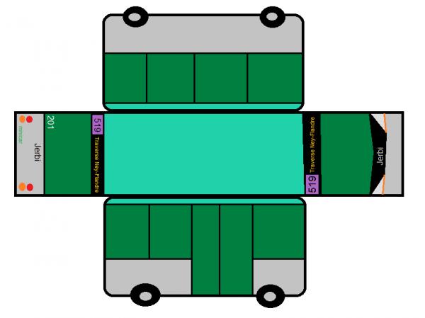 Maquette de bus RATP Traverse Ney-Flandre en Minibus inventé (Jerbi minicar) coquille 201