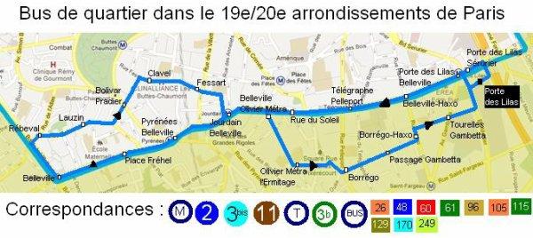 Carte de la nouvelle Traverse de bus à Paris dans les 19e et 20e arrondissements