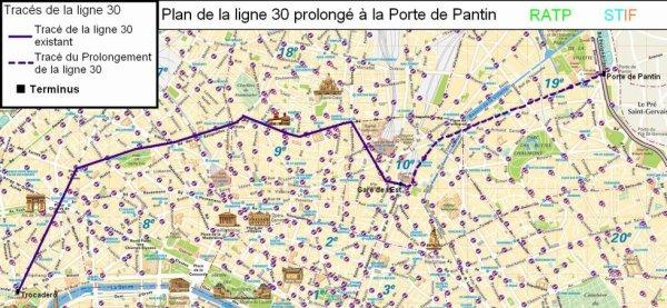 [BUS RATP] : Image du tracé du prolongement de la ligne 30 à Porte de Pantin