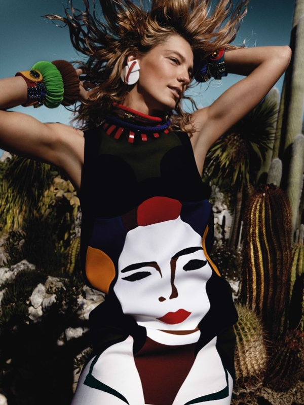 "COVER & EDITORIAL Vogue UK March 2014 ""Rainbow Babes"" Feat. Daria Werbowy by Mario Testino"